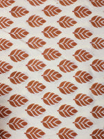 White Brown Hand Block Printed Cotton Cambric Fabric Per Meter - F0916409