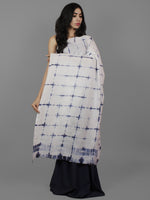 Indigo White Natural Color Dyed Hand Clamped Cotton Shibori Saree - S031701770