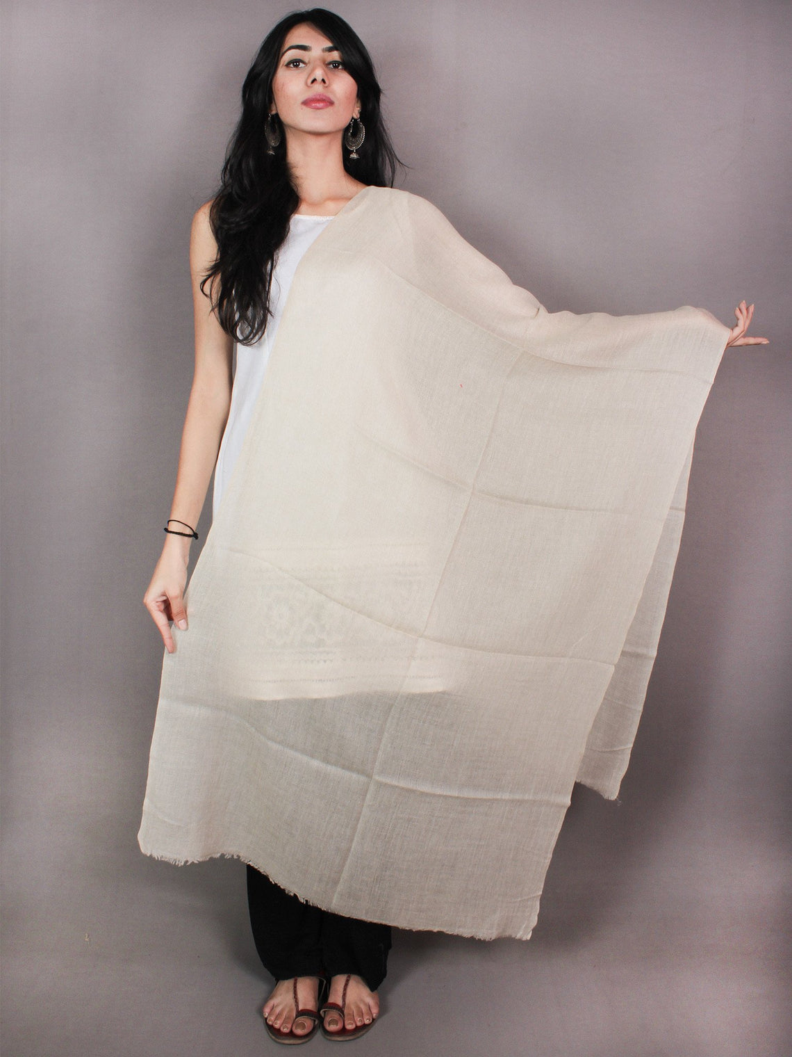 Ivory Pure Pashmina Handloom Stole from Kashmir - S6317094