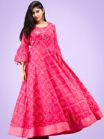Maher - Pink Bandhani Printed Urave Cut Long Dress  - D381F2053