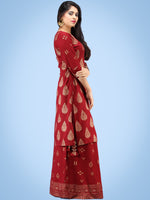 Aalia - Red Gold Block Print Kurta & Skirt Dress With Tassels - D380FYYY