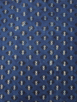 Indigo Beige Hand Block Printed Cotton Cambric Fabric Per Meter - F0916393