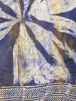 Indigo Beige Chanderi Hand Painted Dupatta With Brown Putai  - D0417097