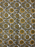 White Olive Green Hand Block Printed Cotton Cambric Fabric Per Meter - F0916426