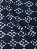 Indigo Black White Hand Block Printed Cotton Cambric Fabric Per Meter - F0916390