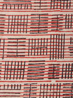 Beige Black Red Hand Block Printed Cotton Cambric Fabric Per Meter - F0916423