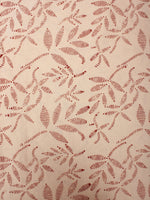 Beige Maroon Hand Block Printed Cotton Cambric Fabric Per Meter - F0916472