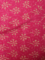 Rose Pink Brown Hand Block Printed Cotton Cambric Fabric Per Meter - F0916474