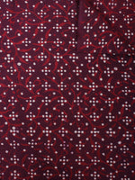 Maroon Red Hand Block Printed Cotton Cambric Fabric Per Meter - F0916475