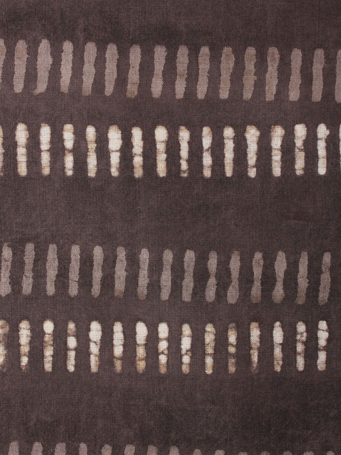 Brown Off White Hand Block Printed Cotton Cambric Fabric Per Meter - F0916446