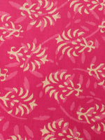 Rose Pink Beige Hand Block Printed Cotton Cambric Fabric Per Meter - F0916452
