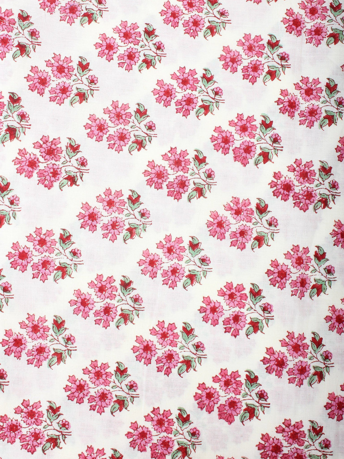 Off White Pink Hand Block Printed Cotton Cambric Fabric Per Meter - F0916406