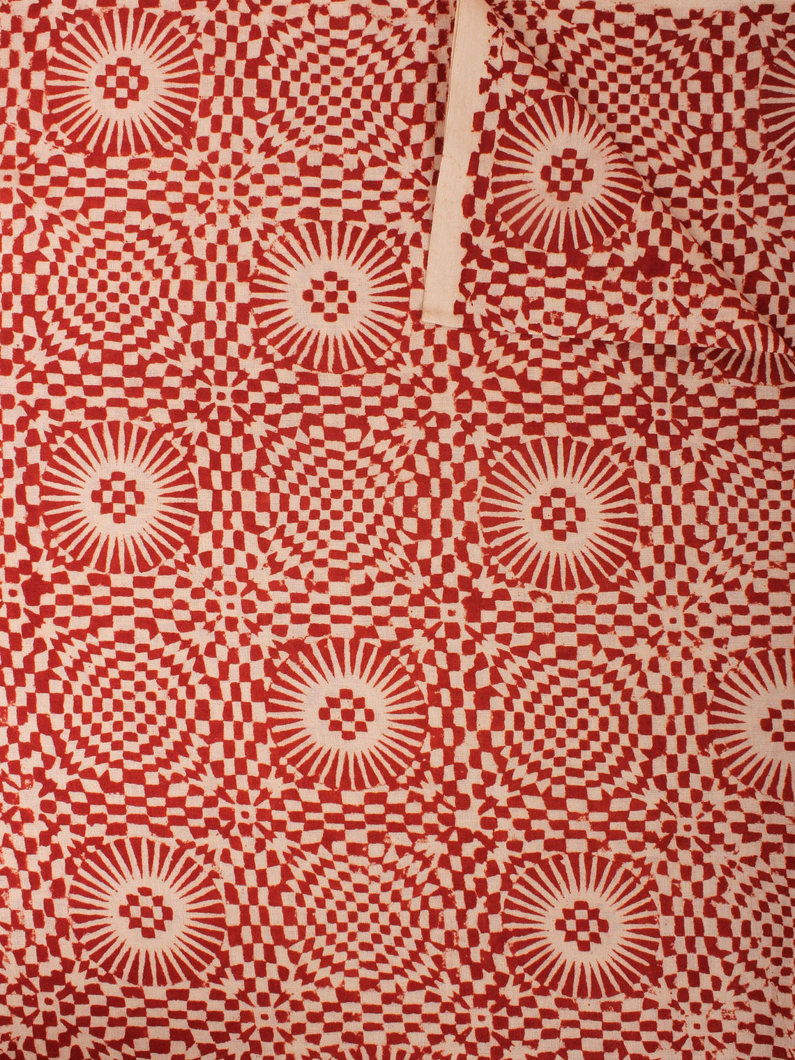 Beige Maroon Hand Block Printed Cotton Cambric Fabric Per Meter - F0916457