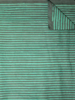 Mint Green Black Hand Block Printed Cotton Cambric Fabric Per Meter - F0916463