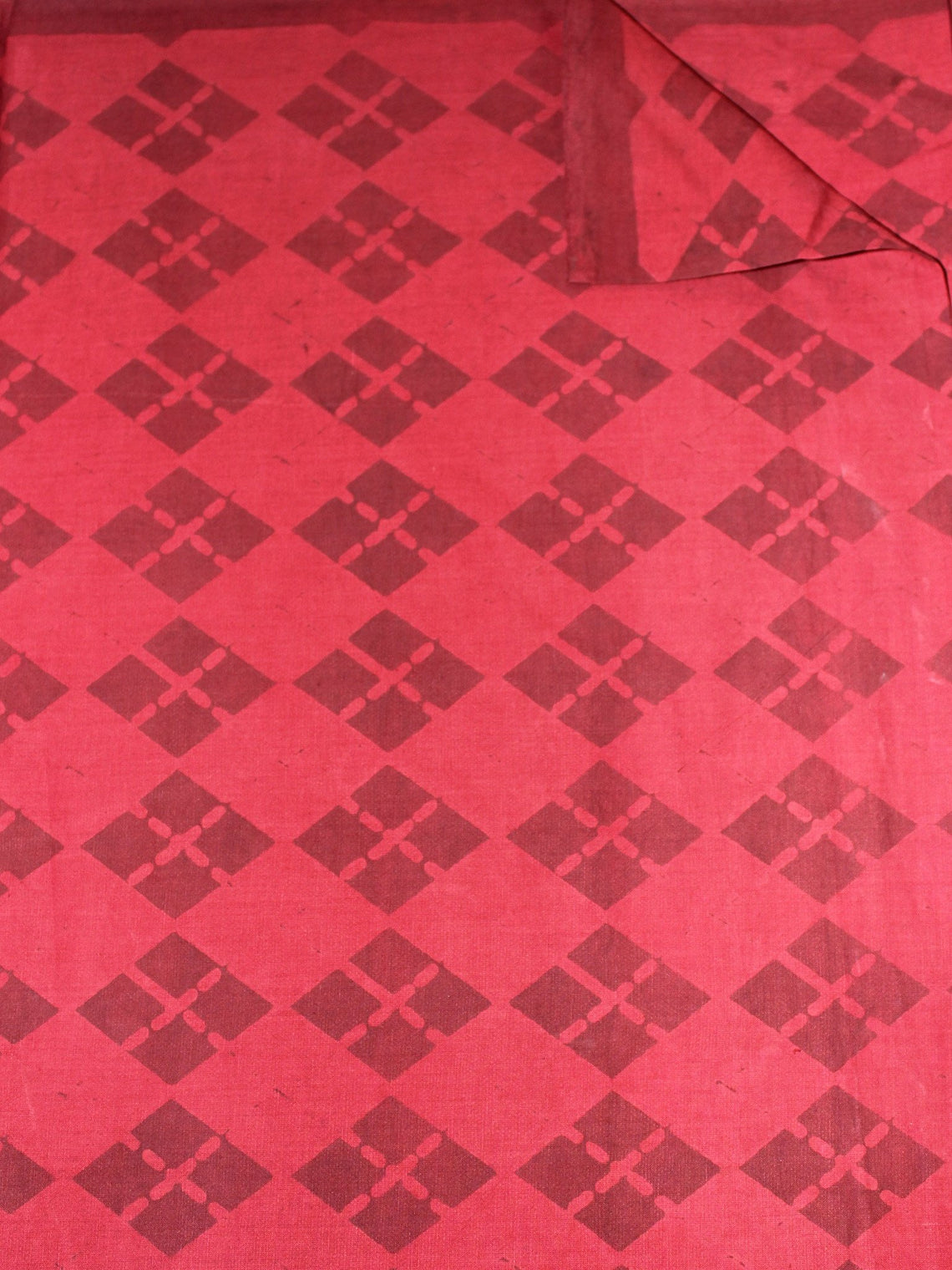Light Red Maroon Hand Block Printed Cotton Cambric Fabric Per Meter - F0916461