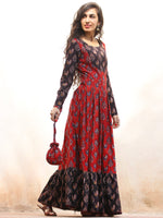 Timeless Charm - Hand Block Printed Long Dress With Potli - D376F1808