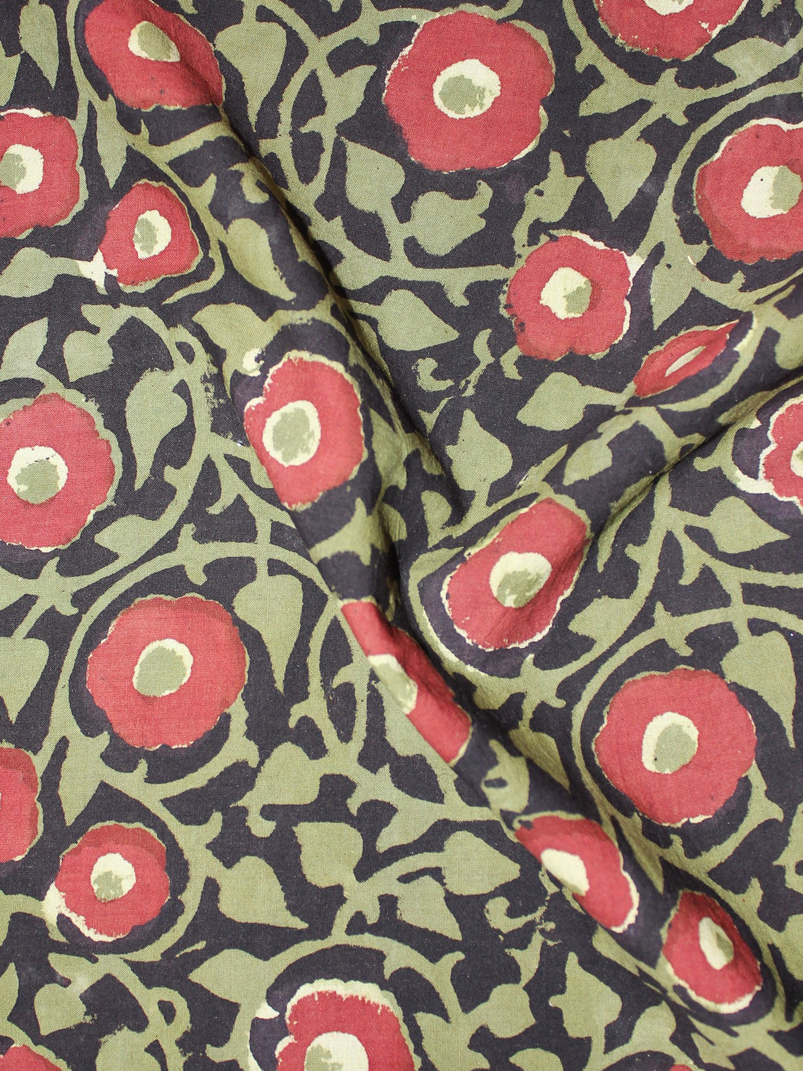 Black Green red Hand Block Printed Cotton Cambric Fabric Per Meter - F0916435