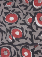 Black Grey Red Hand Block Printed Cotton Cambric Fabric Per Meter - F0916434