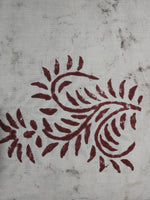 Off White Maroon Hand Block Printed Cotton Cambric Fabric Per Meter - F0916428