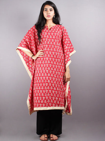 Red Hand Block Printed Kaftan With Beige Border - K1159F09