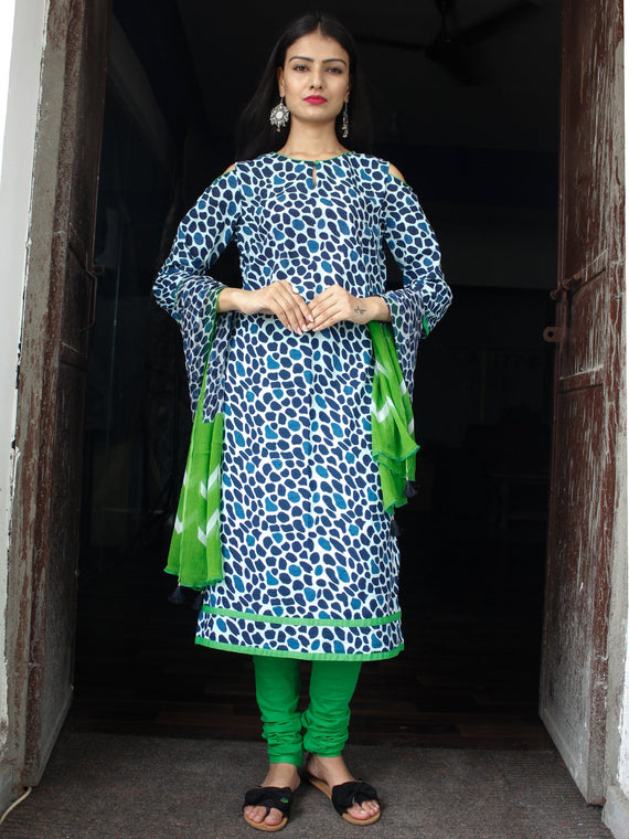 Indigo White Green Cotton Block Printed Suit - Set of 3 - SS01F028