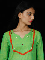Pear Green Orange  Hand Embroidered South Handloom Cotton Kurta - K164FXXX