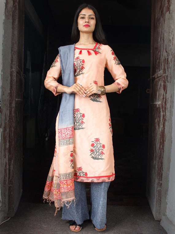Peach Grey Red Chanderi Block Printed Suit Set - Set of 3  - SS01F031