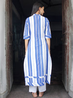 Blue White Handloom Double Ikat Kurta With Embroidery Details  - K159F856
