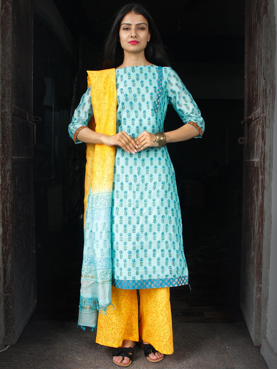 Sky Blue Yellow Chanderi Block Printed Suit Set - Set of 3  - SS01F029