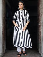 Black White Handloom Double Ikat Kurta With Embroidery Details  - K159F763