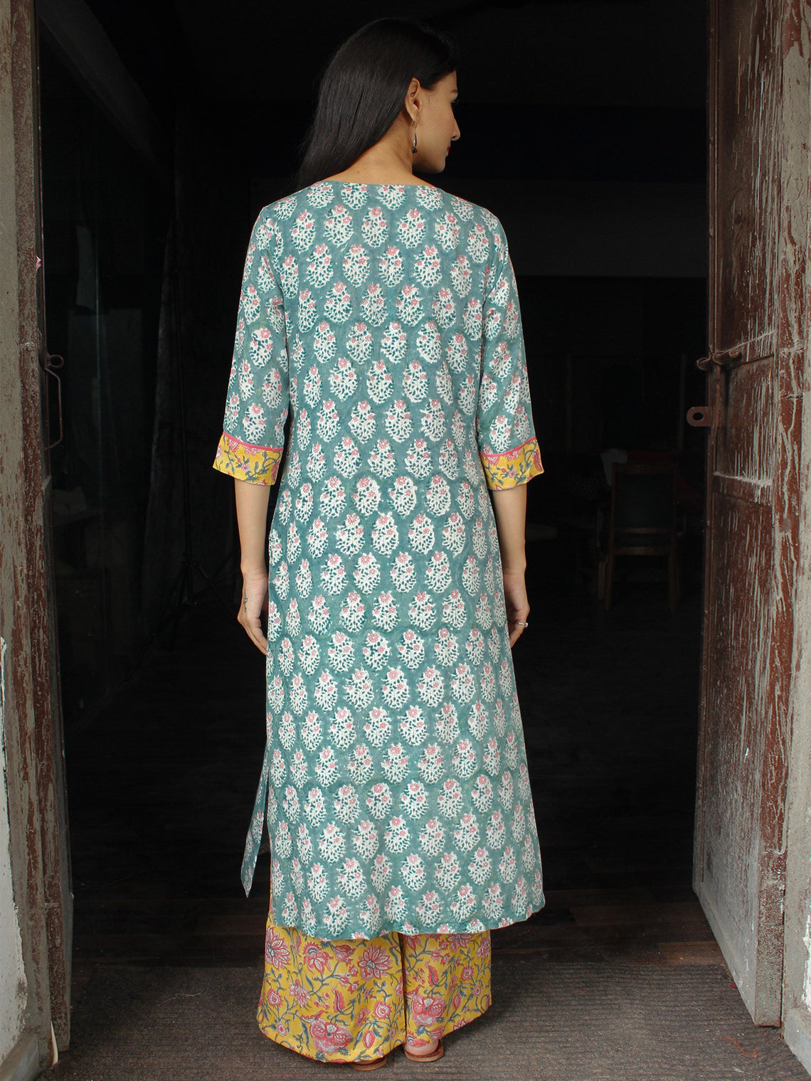 PASTEL BLOOM - Hand Block Printed Cotton Long Dress (Set of 2)  - D333F1845