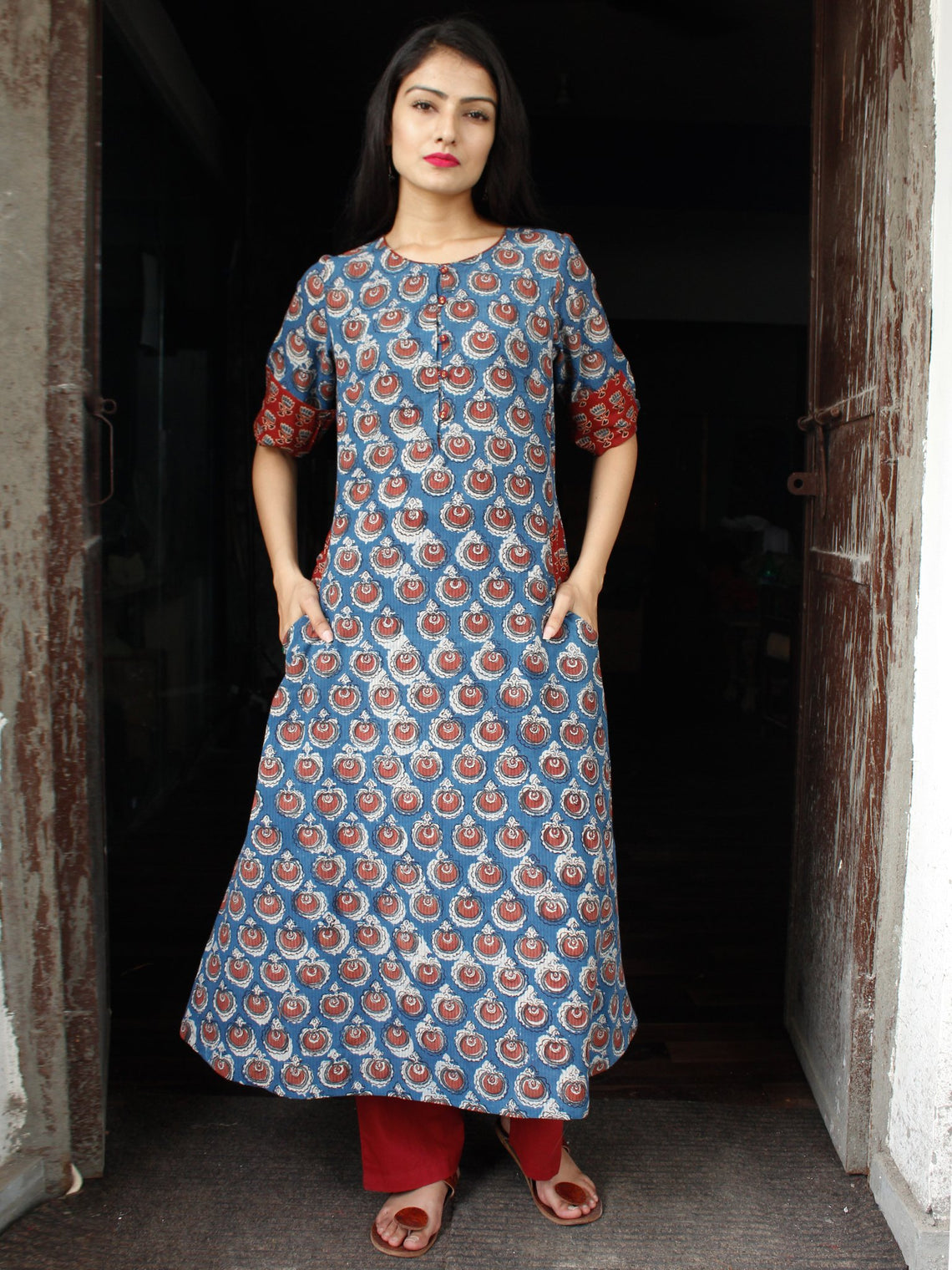 Indigo Rust Hand Block Printed Cotton Long Kurta With Pockets - K158F1838