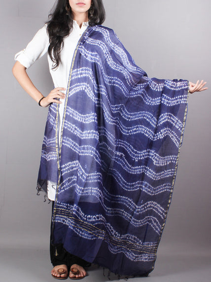Indigo Shibori Hand Dyed in Natural Vegetable Colors Chanderi Dupatta - D0417060