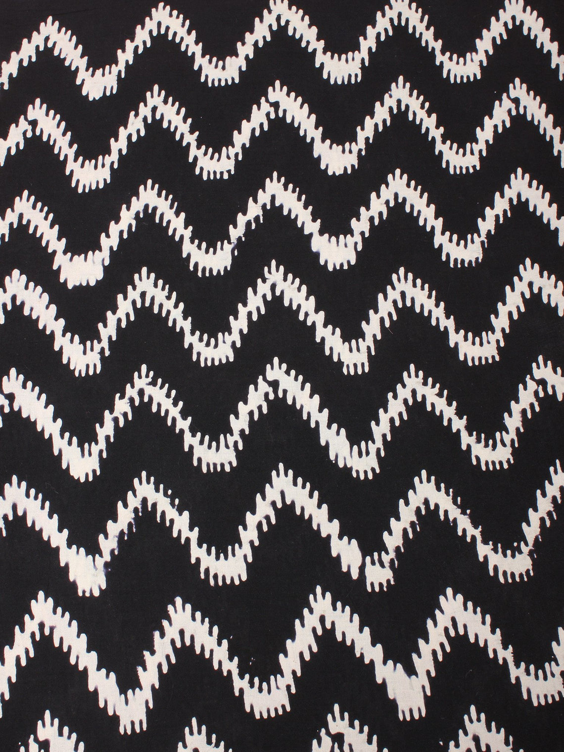 Black and White Natural Dyed Hand Block Printed Cotton Fabric Per Meter - F0916201
