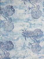 Ivory Indigo Color Natural Dyed Hand Block Printed Cotton Fabric Per Meter - F0916205
