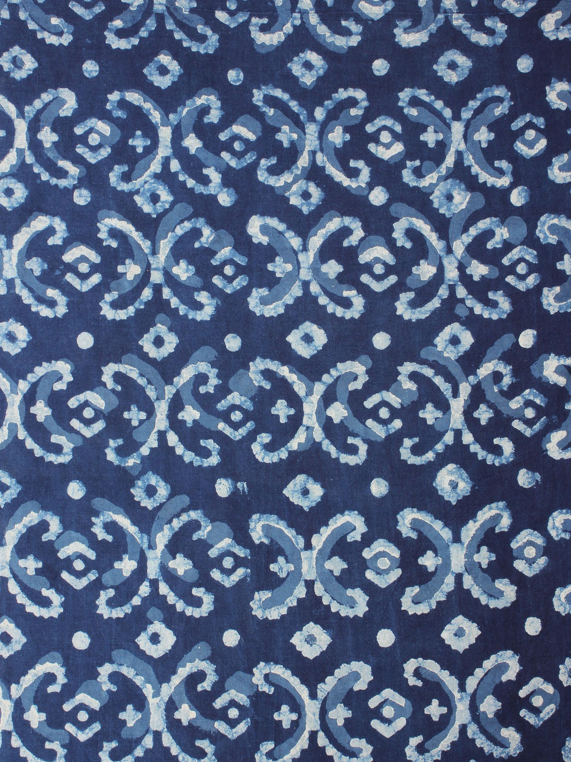 Indigo White Blue Color Natural Dyed Hand Block Printed Cotton Fabric Per Meter - F0916209