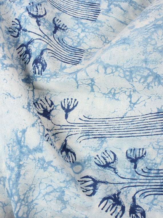 Ivory Indigo Color Natural Dyed Hand Block Printed Cotton Fabric Per Meter - F0916210