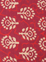 Red Beige Color Natural Dyed Hand Block Printed Cotton Fabric Per Meter - F0916211
