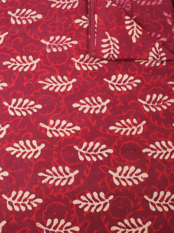 Red Beige Natural Dyed Hand Block Printed Cotton Fabric Per Meter - F0916214