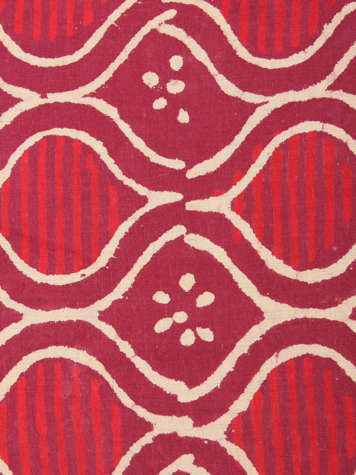 Red Beige Natural Dyed Hand Block Printed Cotton Fabric Per Meter - F0916215