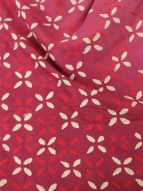 Red Beige Natural Dyed Hand Block Printed Cotton Fabric Per Meter - F0916216