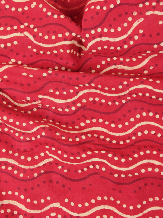 Red Beige Leharia Natural Dyed Hand Block Printed Cotton Fabric Per Meter - F0916223