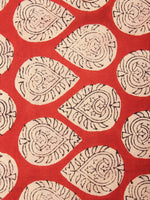 Red Beige Natural Dyed Hand Block Printed Cotton Fabric Per Meter - F0916226