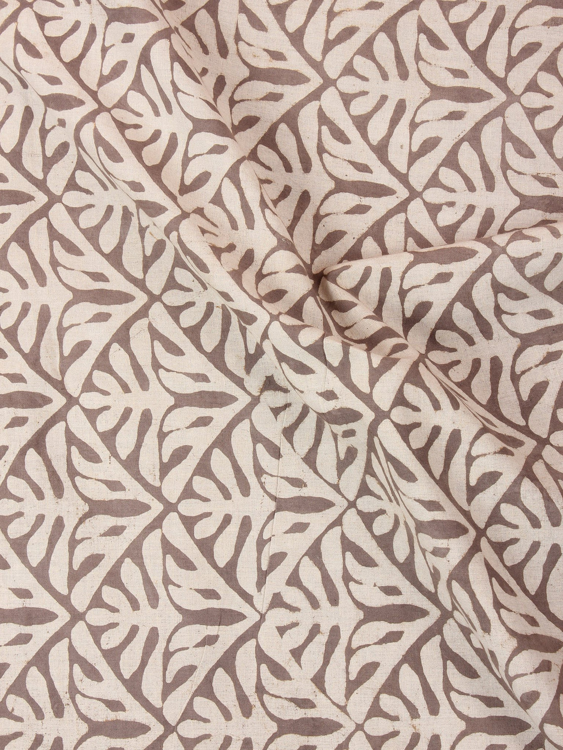 Beige Brown Natural Dyed Hand Block Printed Cotton Fabric Per Meter - F0916238