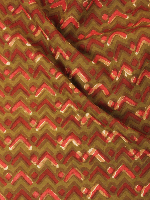 Multi Color Natural Dyed Hand Block Printed Cotton Fabric Per Meter - F0916246