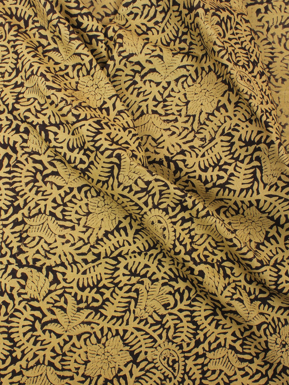 Yellow Black Natural Dyed Hand Block Printed Cotton Fabric Per Meter - F0916248