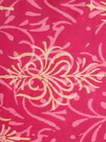 Pink Yellow Natural Dyed Hand Block Printed Cotton Fabric Per Meter - F0916249