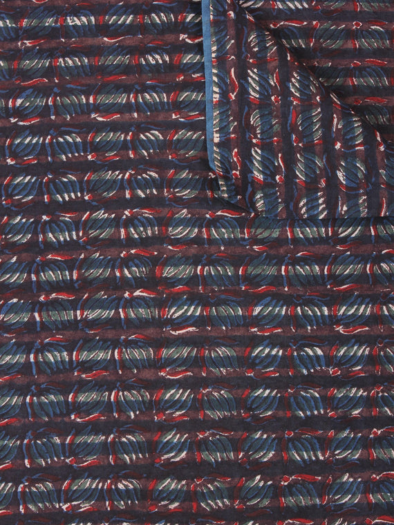 Multi Color Natural Dyed Hand Block Printed Cotton Fabric Per Meter - F0916251