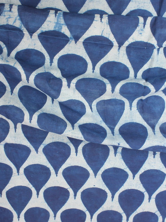 Indigo Natural Dyed Hand Block Printed Cotton Fabric Per Meter - F0916256