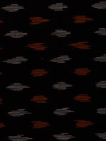 Black Orange Ivory Pochampally Hand Weaved Ikat Fabric Per Meter - F002F808